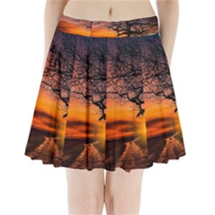 Lonely Tree Sunset Wallpaper Pleated Mini Skirt