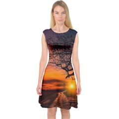 Lonely Tree Sunset Wallpaper Capsleeve Midi Dress