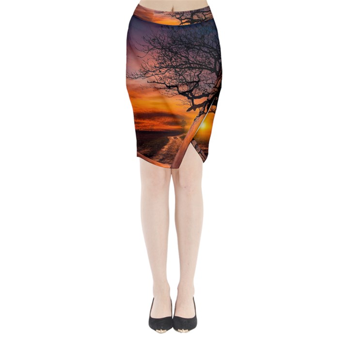 Lonely Tree Sunset Wallpaper Midi Wrap Pencil Skirt