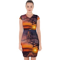 Lonely Tree Sunset Wallpaper Capsleeve Drawstring Dress