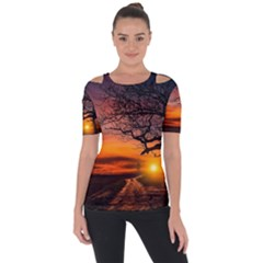 Lonely Tree Sunset Wallpaper Shoulder Cut Out Short Sleeve Top