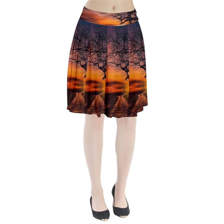 Lonely Tree Sunset Wallpaper Pleated Skirt