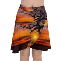 Lonely Tree Sunset Wallpaper Chiffon Wrap Front Skirt