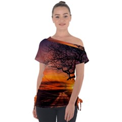Lonely Tree Sunset Wallpaper Tie-Up Tee