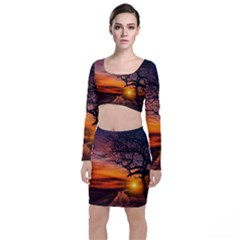 Lonely Tree Sunset Wallpaper Top and Skirt Sets