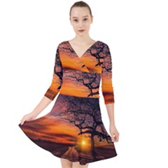 Lonely Tree Sunset Wallpaper Quarter Sleeve Front Wrap Dress