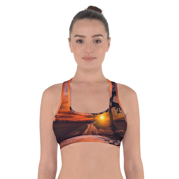 Lonely Tree Sunset Wallpaper Cross Back Sports Bra