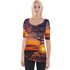 Lonely Tree Sunset Wallpaper Wide Neckline Tee