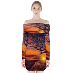 Lonely Tree Sunset Wallpaper Long Sleeve Off Shoulder Dress