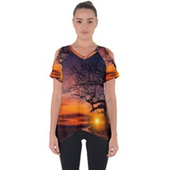 Lonely Tree Sunset Wallpaper Cut Out Side Drop Tee