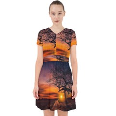 Lonely Tree Sunset Wallpaper Adorable in Chiffon Dress