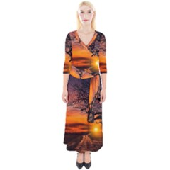 Lonely Tree Sunset Wallpaper Quarter Sleeve Wrap Maxi Dress