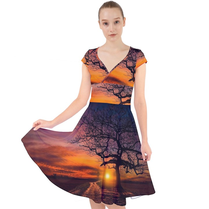 Lonely Tree Sunset Wallpaper Cap Sleeve Front Wrap Midi Dress