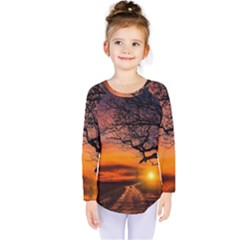 Lonely Tree Sunset Wallpaper Kids  Long Sleeve Tee