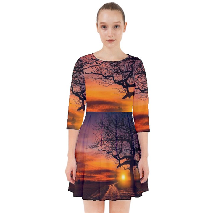 Lonely Tree Sunset Wallpaper Smock Dress