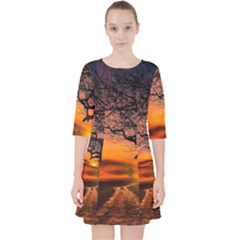 Lonely Tree Sunset Wallpaper Pocket Dress