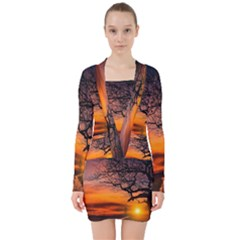 Lonely Tree Sunset Wallpaper V-neck Bodycon Long Sleeve Dress