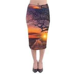 Lonely Tree Sunset Wallpaper Velvet Midi Pencil Skirt