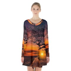 Lonely Tree Sunset Wallpaper Long Sleeve Velvet V Neck Dress