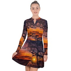 Lonely Tree Sunset Wallpaper Long Sleeve Panel Dress