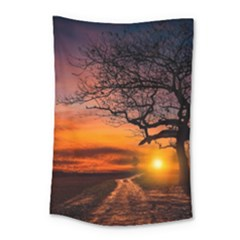 Lonely Tree Sunset Wallpaper Small Tapestry
