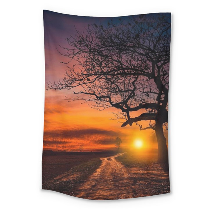 Lonely Tree Sunset Wallpaper Large Tapestry