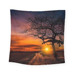 Lonely Tree Sunset Wallpaper Square Tapestry (Small)