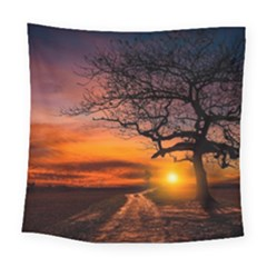 Lonely Tree Sunset Wallpaper Square Tapestry (Large)