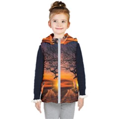 Lonely Tree Sunset Wallpaper Kid s Hooded Puffer Vest