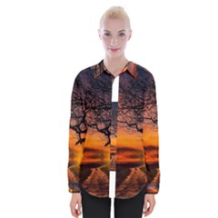 Lonely Tree Sunset Wallpaper Womens Long Sleeve Shirt