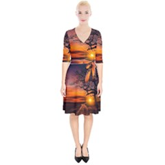 Lonely Tree Sunset Wallpaper Wrap Up Cocktail Dress