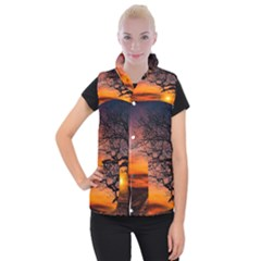 Lonely Tree Sunset Wallpaper Women s Button Up Vest