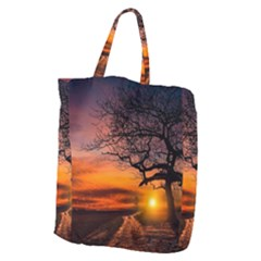 Lonely Tree Sunset Wallpaper Giant Grocery Tote