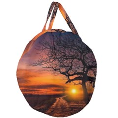 Lonely Tree Sunset Wallpaper Giant Round Zipper Tote