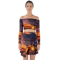 Lonely Tree Sunset Wallpaper Off Shoulder Top with Skirt Set