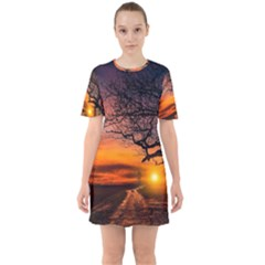 Lonely Tree Sunset Wallpaper Sixties Short Sleeve Mini Dress