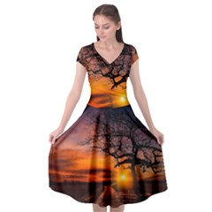 Lonely Tree Sunset Wallpaper Cap Sleeve Wrap Front Dress