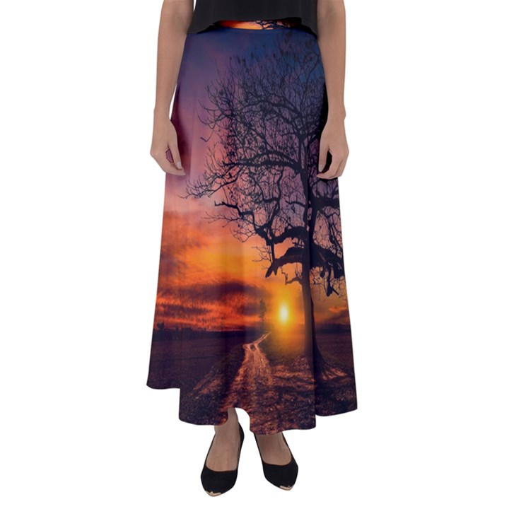 Lonely Tree Sunset Wallpaper Flared Maxi Skirt