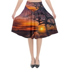 Lonely Tree Sunset Wallpaper Flared Midi Skirt