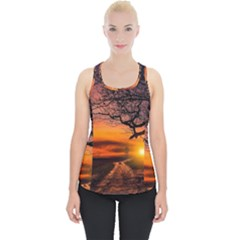 Lonely Tree Sunset Wallpaper Piece Up Tank Top