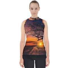 Lonely Tree Sunset Wallpaper Mock Neck Shell Top