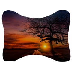 Lonely Tree Sunset Wallpaper Velour Seat Head Rest Cushion