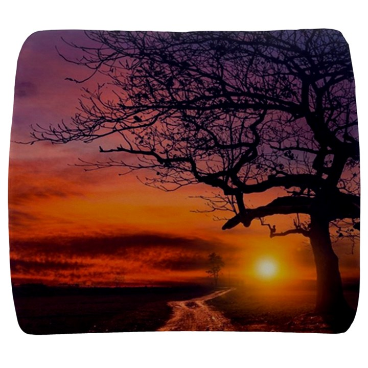 Lonely Tree Sunset Wallpaper Back Support Cushion