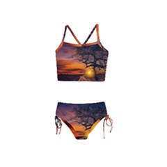 Lonely Tree Sunset Wallpaper Girls  Tankini Swimsuit