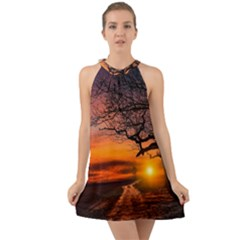 Lonely Tree Sunset Wallpaper Halter Tie Back Chiffon Dress