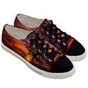 Lonely Tree Sunset Wallpaper Men s Low Top Canvas Sneakers View3