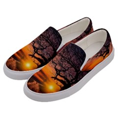 Lonely Tree Sunset Wallpaper Men s Canvas Slip Ons