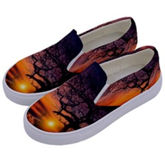 Lonely Tree Sunset Wallpaper Kids  Canvas Slip Ons