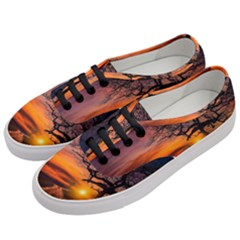 Lonely Tree Sunset Wallpaper Women s Classic Low Top Sneakers