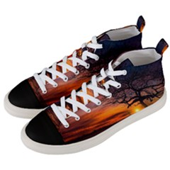 Lonely Tree Sunset Wallpaper Men s Mid-Top Canvas Sneakers